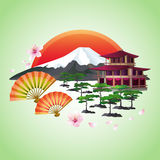 Japanese abstract background with fans, mountain, red sun. Beautiful Japanese background with sakura blossom - Japanese cherry tree with flying petals, fans Stock Photo