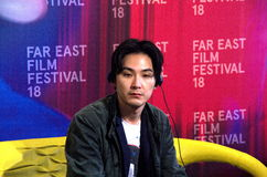 Japanese actor Matsuda Ryuhei. At a press conference for his film Mohican comes home at Far East Film Festival 18 in Udine, Italy Royalty Free Stock Photos
