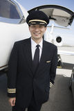 Japanese Air Plane Pilot Standing At Airfield Royalty Free Stock Photography