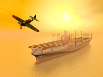 Japanese Aircraft Carrier. Computer generated 3D illustration with a Japanese Aircraft Carrier and a Japanese Fighter Bomber from the second world war Royalty Free Stock Photography