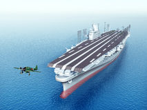 Japanese Aircraft Carrier. Computer generated 3D illustration with a Japanese Aircraft Carrier from the second world war Stock Image