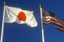 Japanese and American Flags Stock Image