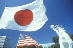 Japanese and American Flags, Little Tokyo, Los Angeles, California Stock Photography