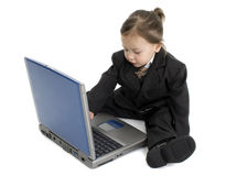 Japanese American Girl In Suit With Laptop Stock Image