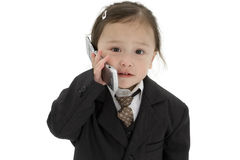 Japanese American Toddler Girl With Cellphone Stock Photo