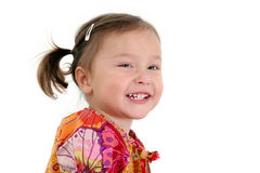 Japanese American Toddler Girl Laughing. Close-up of two year old Japanese American toddler girl laughing stock images
