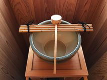 Japanese ancient style hand wash basin Stock Photo