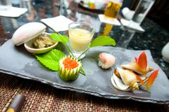 Japanese appetiser made out of raw fish, Royalty Free Stock Photos