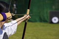 Japanese archer aiming Stock Image