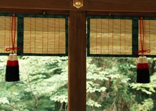 Japanese architectural decorative items hanging along with wooden works background stock image