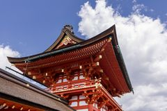 Japanese architectures against a beautiful sky in the famous Fushimi Inari shrine in Kyoto, Japan Stock Photos
