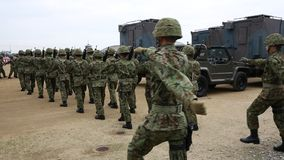 Japanese armed marching soldiers stock video