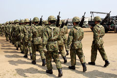 Japanese armed marching soldiers Stock Photography