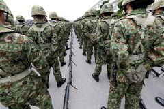 Japanese armed soldiers with weapon Royalty Free Stock Photos