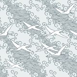 Japanese art inspired seamless pattern with birds and waves Stock Photo