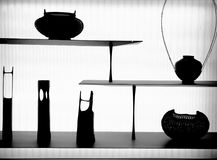 Japanese artifacts. Display of Japanese art objects silhouettes Stock Photography