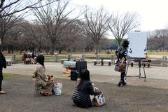Japanese artist/DJ in the  park Tokyo Royalty Free Stock Image