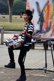 Japanese artist/DJ in the  park Tokyo Stock Image