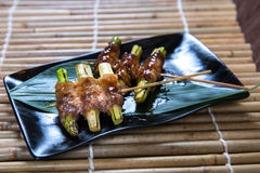 Japanese Asparagus Kushiyaki, Skewered and Grilled Meat Stock Photos