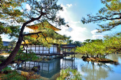Japanese autumn. Kinkaku-ji (金閣寺?, lit. Temple of the Golden Pavilion), officially named Rokuon-ji (鹿苑寺?, lit. Deer Garden Temple), is a Zen Buddhist Royalty Free Stock Images