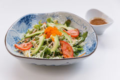 Japanese Avocado Salad include Avocado, Tomato, Cucumber and Green Salad Leaves that Topping with Mayonnaise and Ebiko Stock Images
