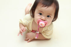 Japanese baby girl sucking on a pacifier Stock Photography