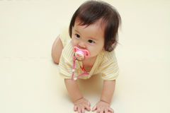 Japanese baby girl sucking on a pacifier Stock Images