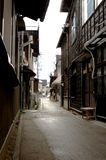 Japanese back alley. A japanese back alley in gifu prefecture with old buildings royalty free stock photo