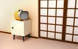 Japanese backdrop with retro tv Stock Photos