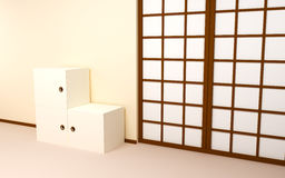 Japanese backdrop with retro tv Stock Images