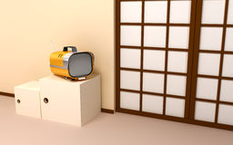 Japanese backdrop with retro tv Royalty Free Stock Photos