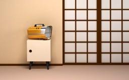 Japanese backdrop with retro tv Royalty Free Stock Photos