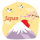 Japanese background with Fuji mountain, blooming sakura and cranes Royalty Free Stock Photography