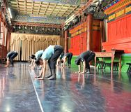 Japanese ballet dancers practice performance in an aciant temple in Japan Stock Image