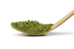 Japanese bamboo matcha spoon with green tea Stock Photos