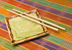 Japanese Bamboo Plate Stock Image