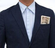 Japanese banknote and businessman. On white background Stock Photography