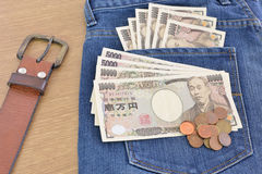 Japanese banknotes and coins Stock Images
