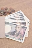 Japanese banknotes and coins Royalty Free Stock Images