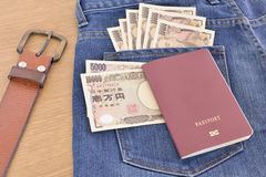 Japanese banknotes with passport Royalty Free Stock Photo
