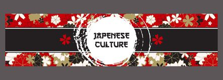 Japanese Banner Template. Asian Culture Squama and Sakura Blossom Pattern. Vector Horizontal Banner, With Inked Sumi. Japanese Banner Template. Asian Culture Stock Images