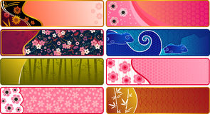 Japanese banners. Collection of Banners with Japanese patterns Stock Photo