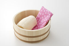 Japanese bath image. Towel and loofa in keg of japanese bath image Royalty Free Stock Photography