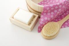 Japanese bath image. Body brush, soap ,towel and keg of japanese bath image Stock Images