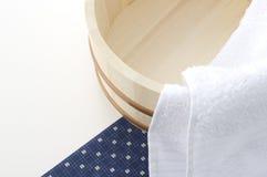Japanese bath image. Keg and towels of japanese bath image Stock Photos