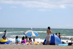 Japanese beach in a windy day Royalty Free Stock Image