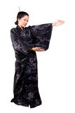 Japanese Beauty. Lady in Black Japanese Costume stock images