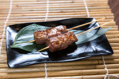 Japanese Beef Kushiyaki, Skewered and Grilled Meat Royalty Free Stock Photography