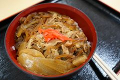 Japanese beef in rice bowl Stock Photo