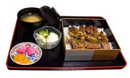 Japanese Beef Rice Set Meal Stock Image